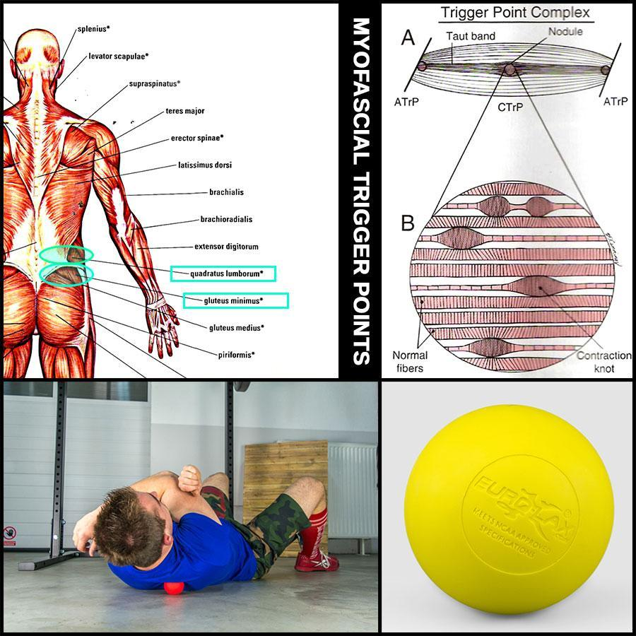 Myofascial release of trigger points with a lacrosse bal.